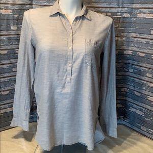 GAP light heather gray roll sleeve tunic.
